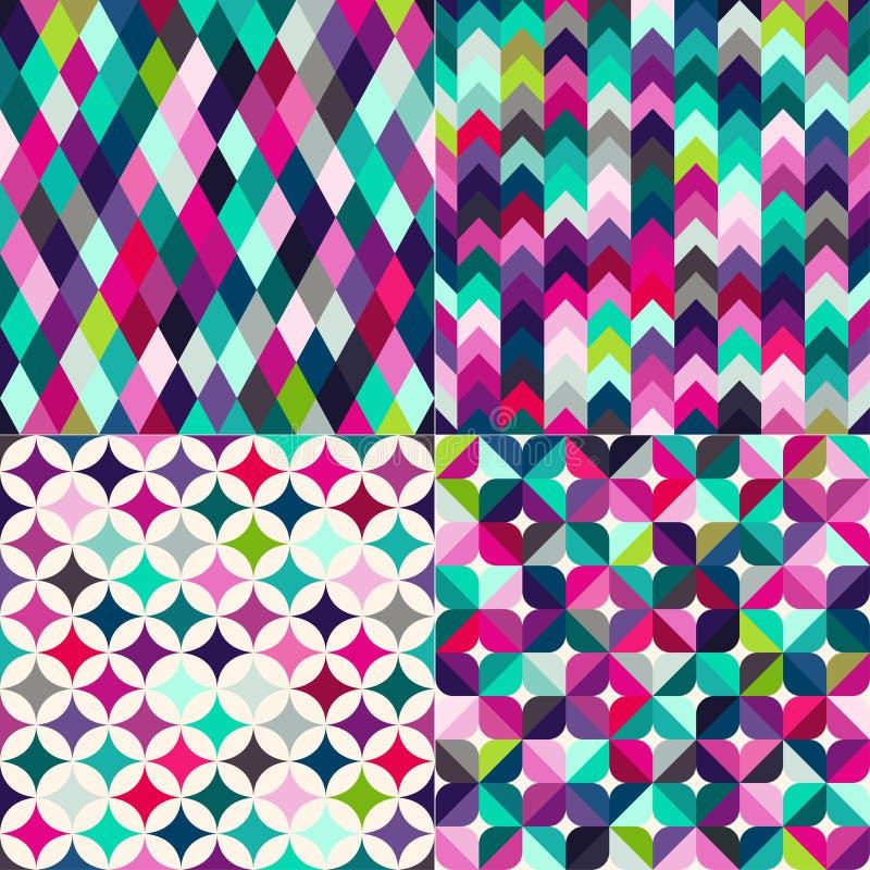 Sömlös flerfärgad tegelplattabakgrund royaltyfri illustrationer