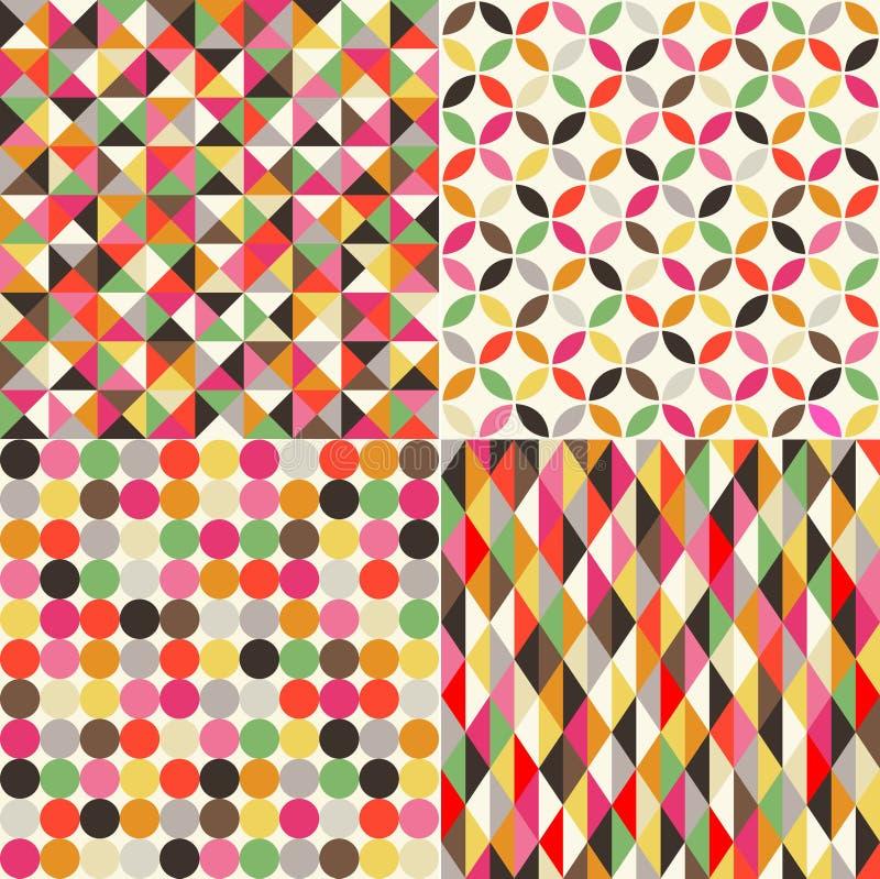 Sömlös flerfärgad tegelplattabakgrund vektor illustrationer
