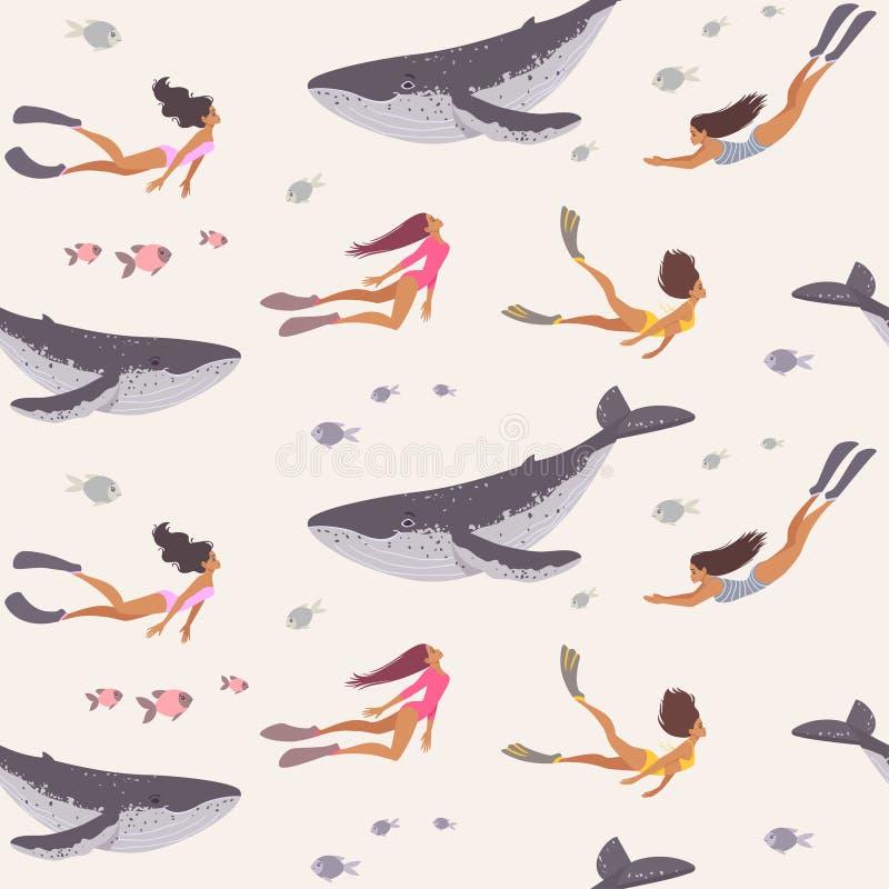 Sömlös flicka och val royaltyfri illustrationer