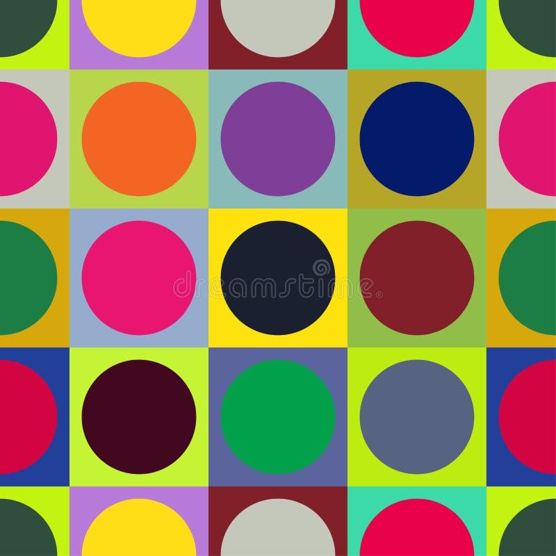 Sömlös fyrkant- och cirkelmodell Abstrakt färgrik vektorprydnad vektor illustrationer