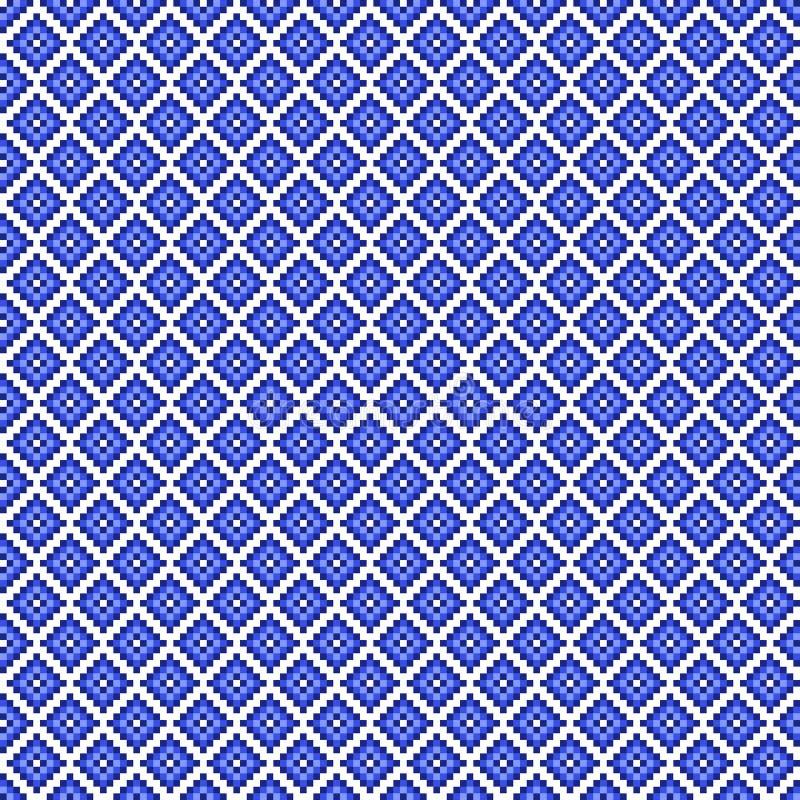 Sömlös fyrkantig modell för traditionellt blått PIXEL stock illustrationer