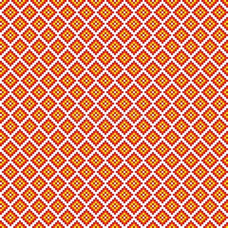 Sömlös fyrkantig modell för traditionellt PIXEL stock illustrationer