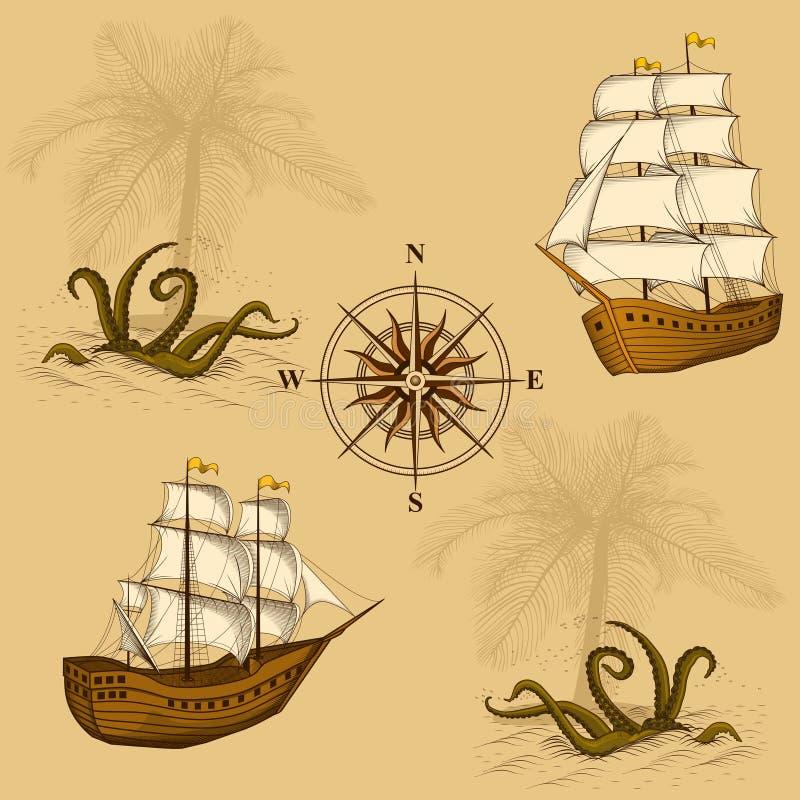Sömlös gammal översikt med en kompass och skepp royaltyfri illustrationer
