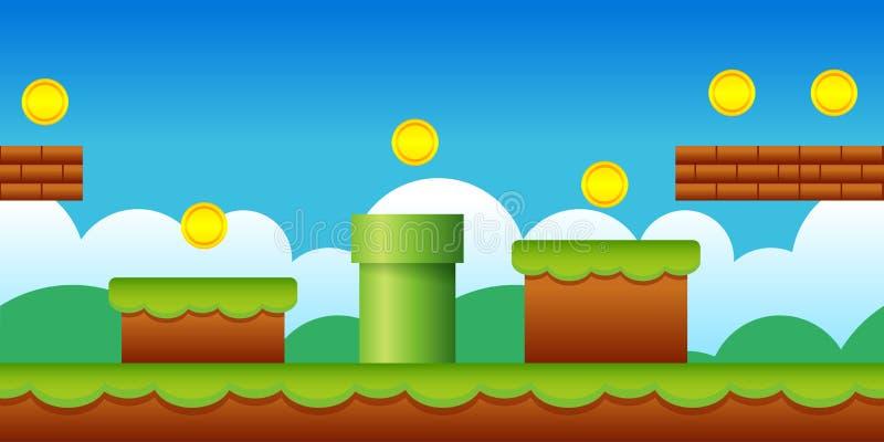 Sömlös gammal Retro videospelbakgrund för vektor Klassiskt landskap för modig design för stil vektor illustrationer