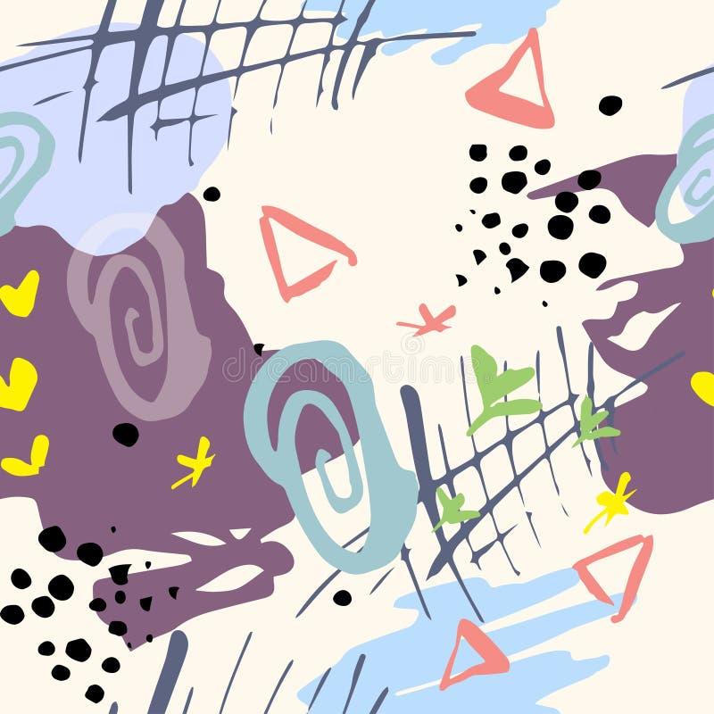 Sömlös geometrimodell för vektor, abstrakt geometrisk bakgrund Hand drog texturer royaltyfri illustrationer