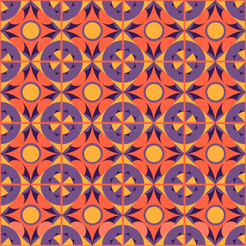 Sömlös geometrisk abstrakt orange modell vektor illustrationer