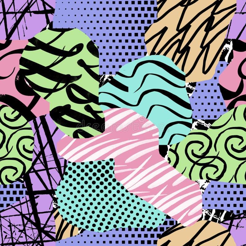 Sömlös geometrisk bakgrund Chaootiskt mönster Multicolor - illustration vektor illustrationer