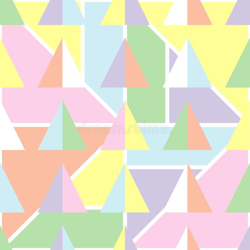 Sömlös geometrisk bakgrund med mjuka pastellfärgade färger vektor illustrationer