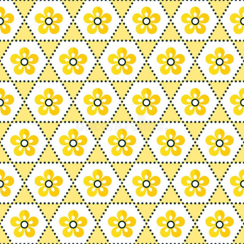 Sömlös geometrisk blom- vit för bakgrundsmodellguling stock illustrationer