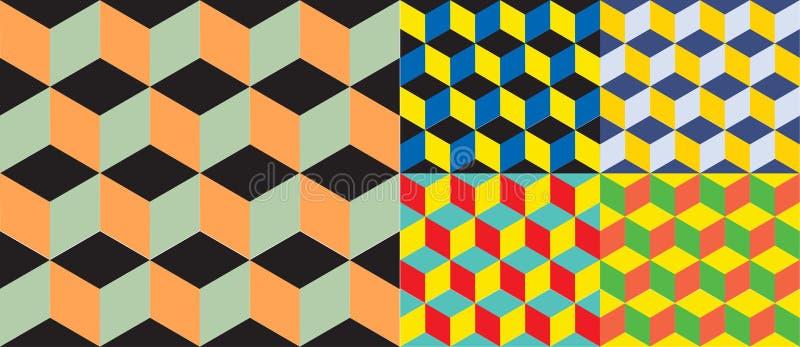 Sömlös geometrisk färgrik vektorbakgrund Kubformer optisk illusion vektor illustrationer
