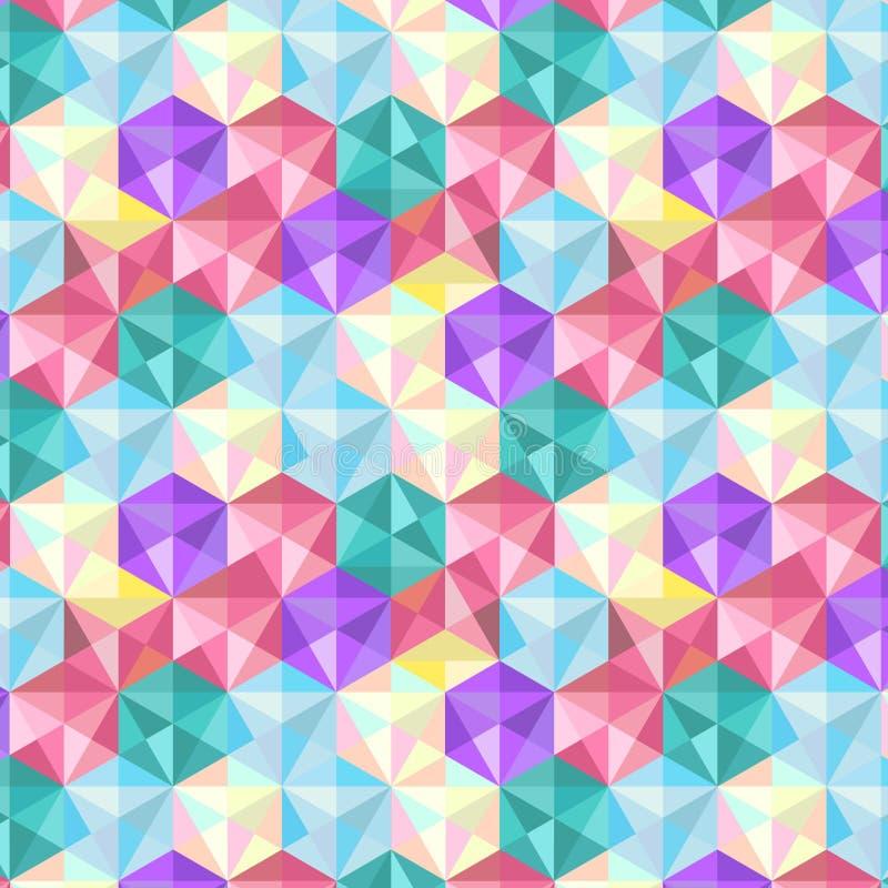 Sömlös geometrisk för färg för textursexhörning lågt Poly modell för design royaltyfri illustrationer