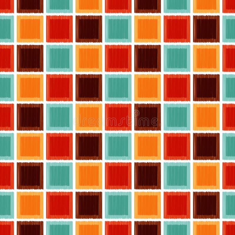 Sömlös geometrisk fyrkantig tegelplattabakgrund vektor illustrationer