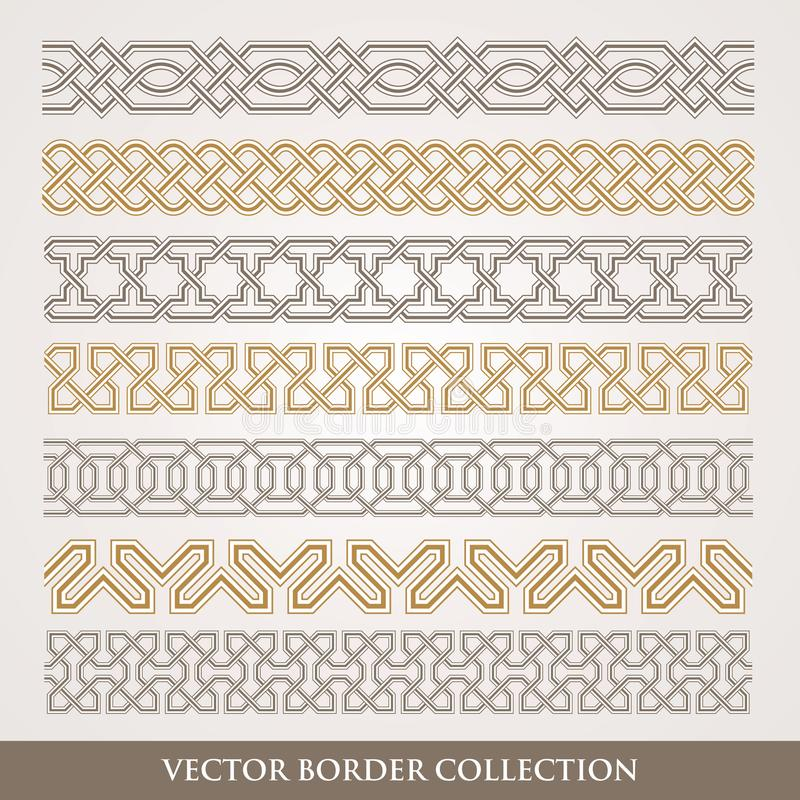 Sömlös geometrisk gränsuppsättning för Arabesque vektor illustrationer