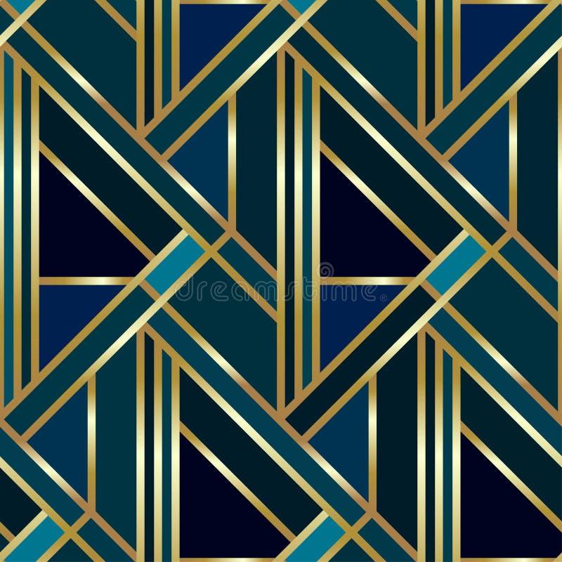 Sömlös geometrisk guld- Art Deco modell Vektormodebakgrund i tappningstil royaltyfri illustrationer