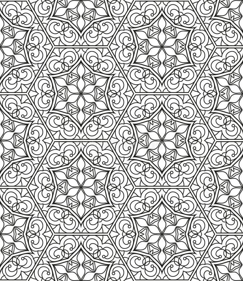 Sömlös geometrisk linje modell i arabisk stil, etnisk prydnad vektor illustrationer
