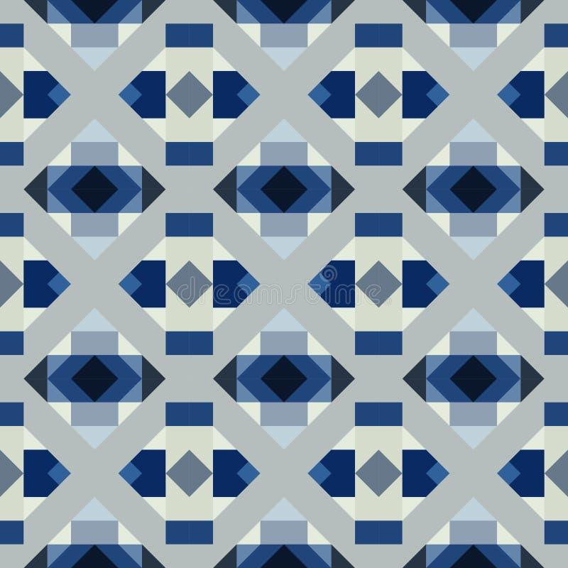 Sömlös geometrisk modell av fyrkanter och trianglar stock illustrationer