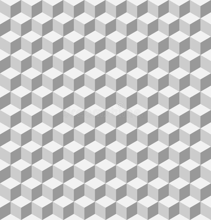 Sömlös geometrisk modell 3D av kuber Abstrakt designvektorbakgrund i skuggor av grå färger vektor illustrationer