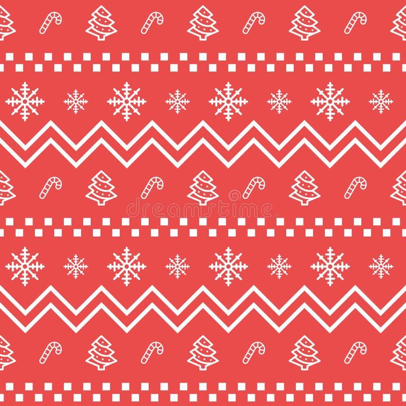 Sömlös geometrisk modell för julsymbolsuppsättning Jul och bakgrund för beståndsdelar för vinterferier Plan designvektortextur royaltyfri illustrationer