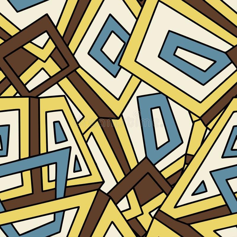 Sömlös geometrisk modell i tappningstil För mode textil, torkduk, bakgrunder bakgrund cirklar den orange prydnadfyrkantvektorn de royaltyfri illustrationer