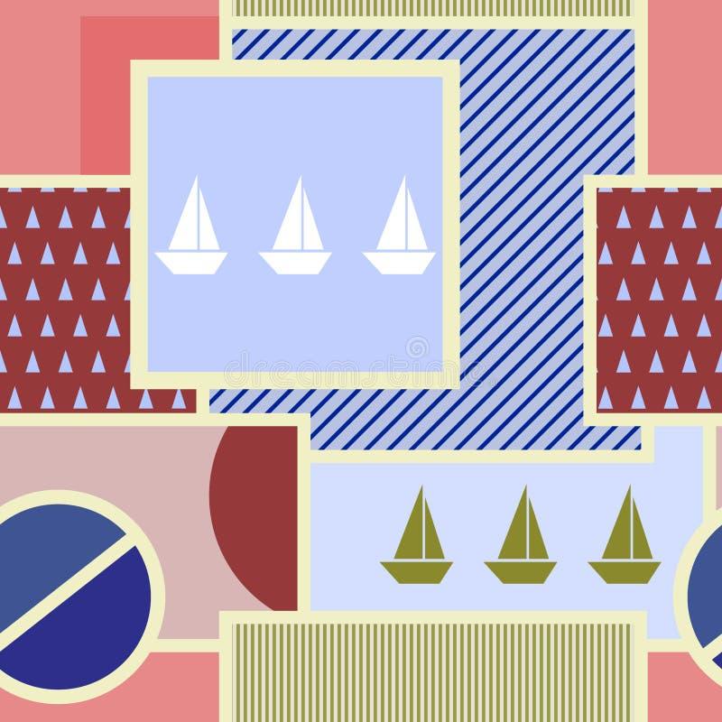 Sömlös geometrisk modell med konturn av skeppet, cirkeln, fyrkanten, triangeln, band och andra beståndsdelar stock illustrationer