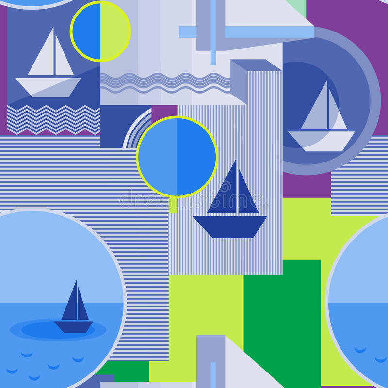 Sömlös geometrisk modell med konturn av skeppet, cirkeln, fyrkanten, triangeln, band och andra beståndsdelar vektor illustrationer