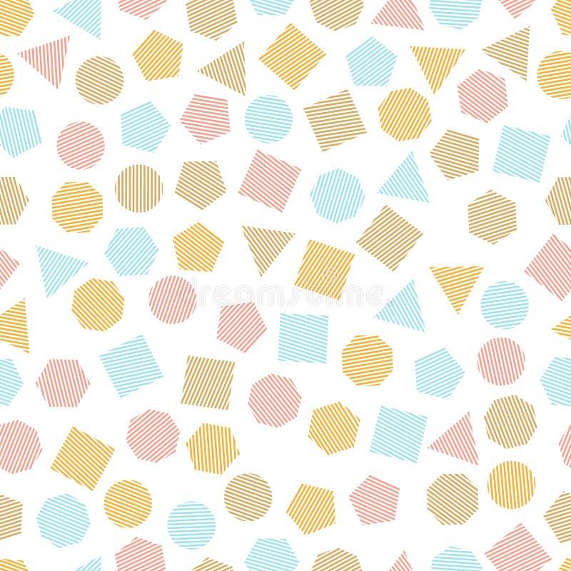 Sömlös geometrisk modell med mångfärgade fyrkanter, trianglar, cirklar, pentagons, sexhörningar och sjuhörningar för silkespapper royaltyfri illustrationer