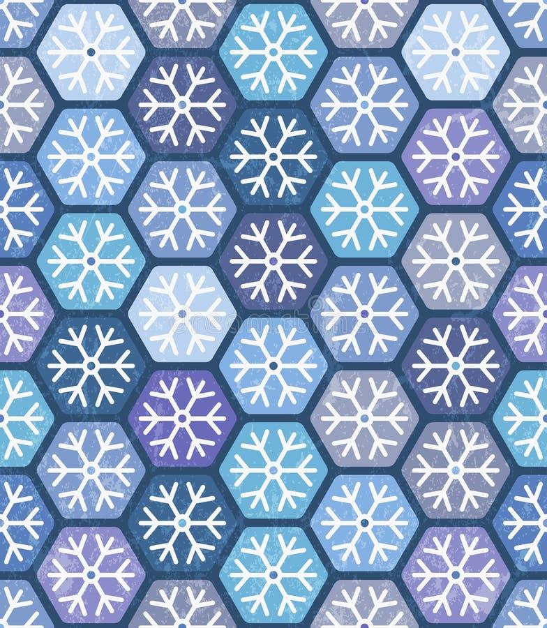 Sömlös geometrisk modell med snöflingor. royaltyfri illustrationer