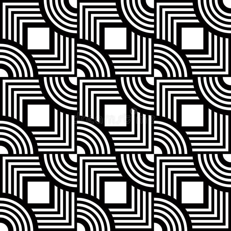 Sömlös geometrisk modell, svartvitt band för enkel vektor stock illustrationer