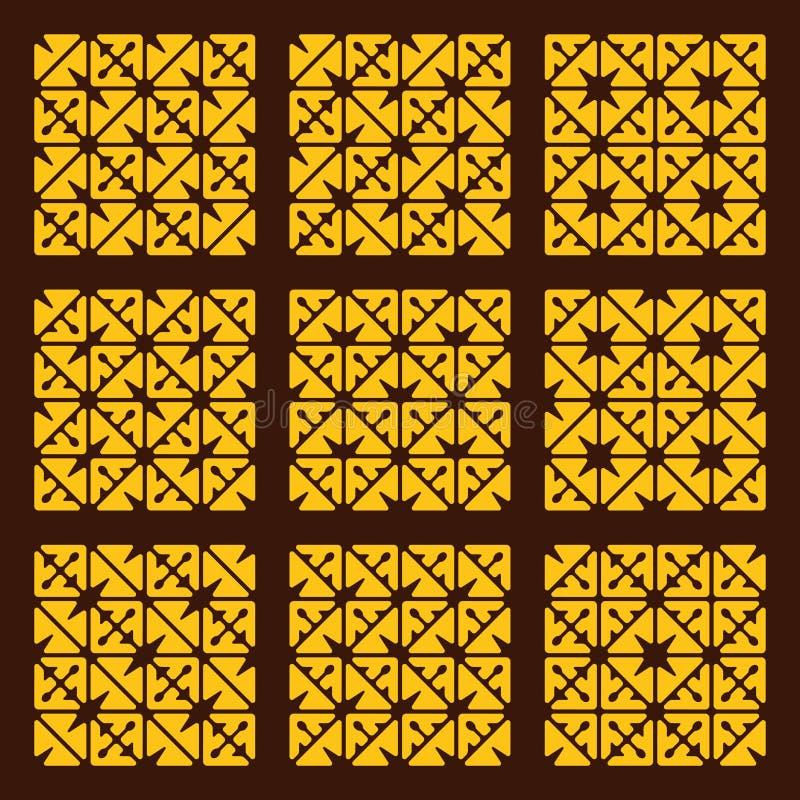 Sömlös geometrisk modelluppsättning för vektor stock illustrationer