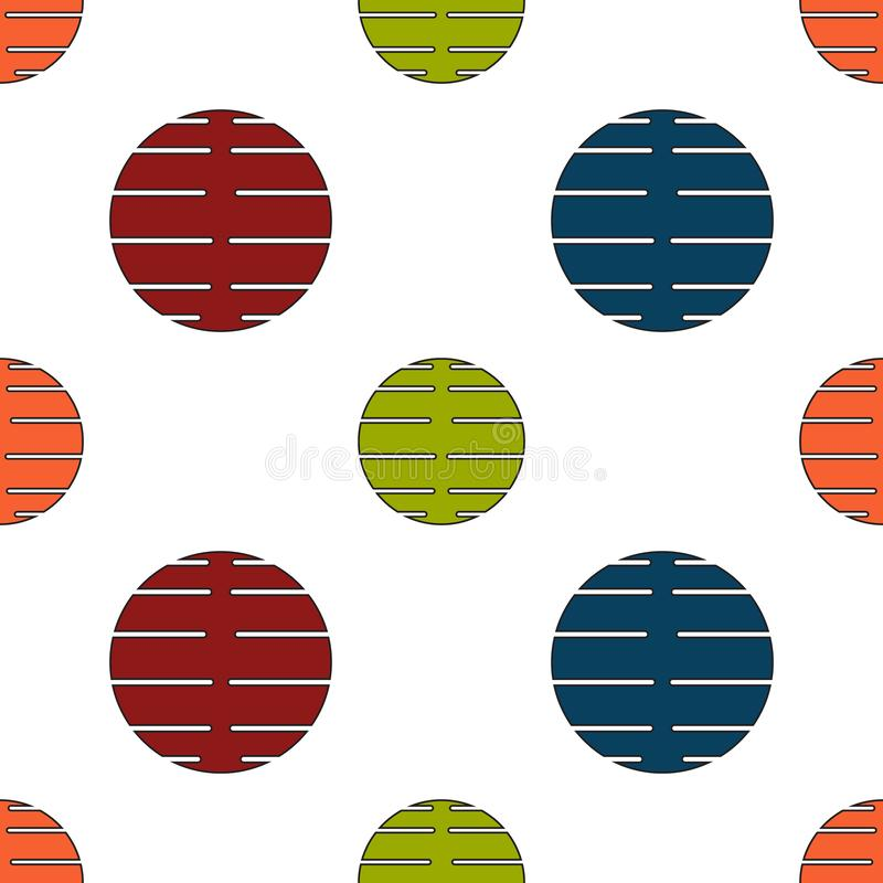 Sömlös geometrisk modellvektorbakgrund med klippt whi för färgrik för design för cirklar blå grön orange röd abstrakt konst för t vektor illustrationer