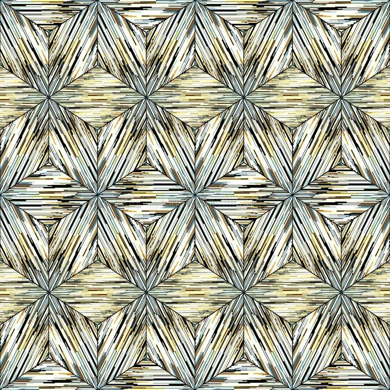 Sömlös geometrisk orientalisk prydnad för modell för ikat grå och gul, på vit royaltyfri illustrationer
