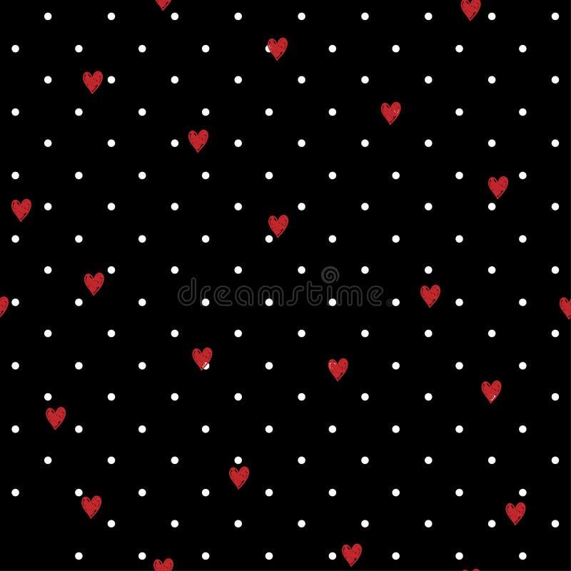 Sömlös geometrisk polkadotmodell med röda handteckningshjärtor stock illustrationer
