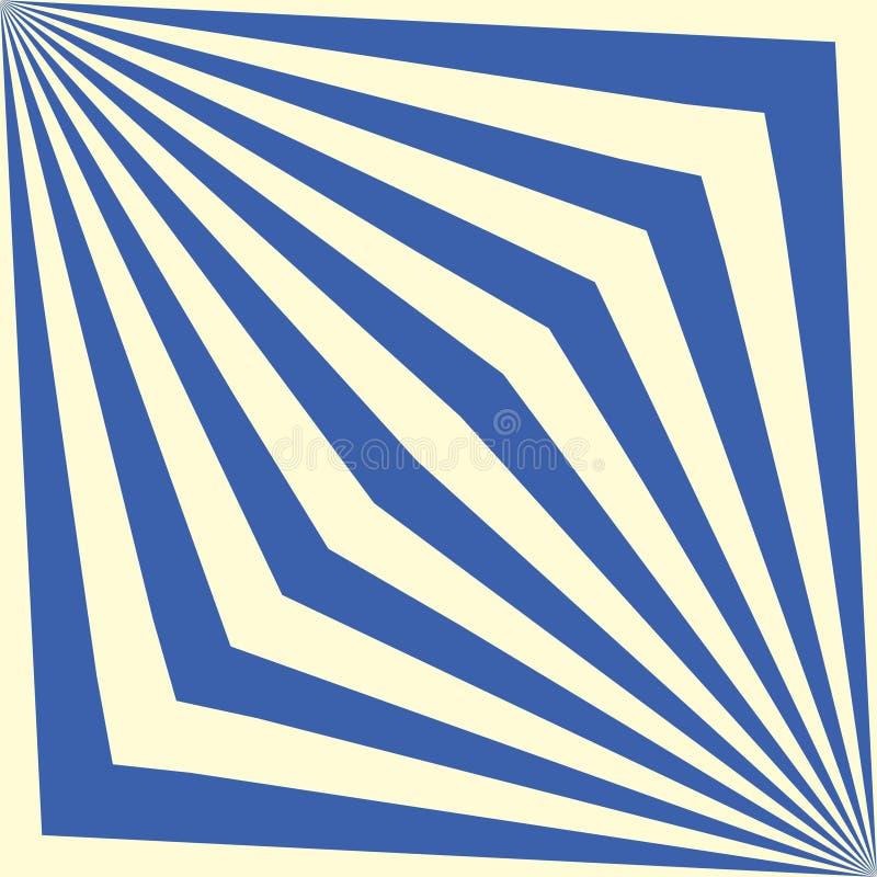 Sömlös geometrisk randig blå modell för vektor Dekorativ abstrakt illusionbakgrund Stilfull linj?r textur royaltyfri illustrationer