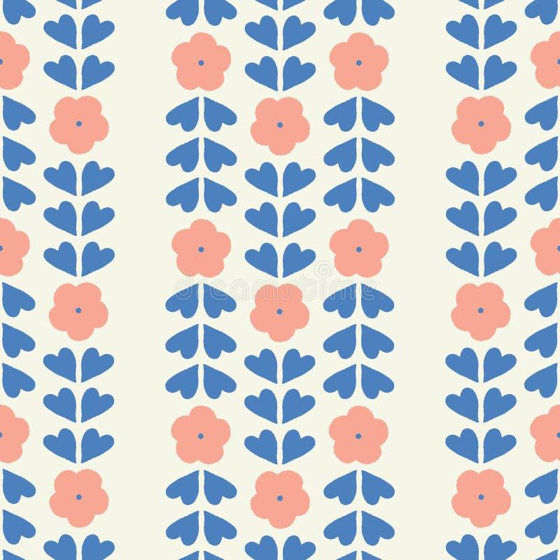 Sömlös geometrisk repetition av stiliserade blommor och hjärtaformsidor En utdragen blom- vektordesign för nätt hand stock illustrationer