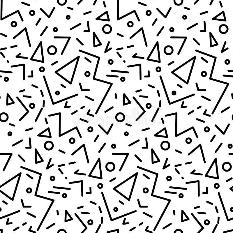 Sömlös geometrisk tappningmodell i retro 80-talstil, memphis Ideal för tygdesign, pappers- tryck och website royaltyfri illustrationer