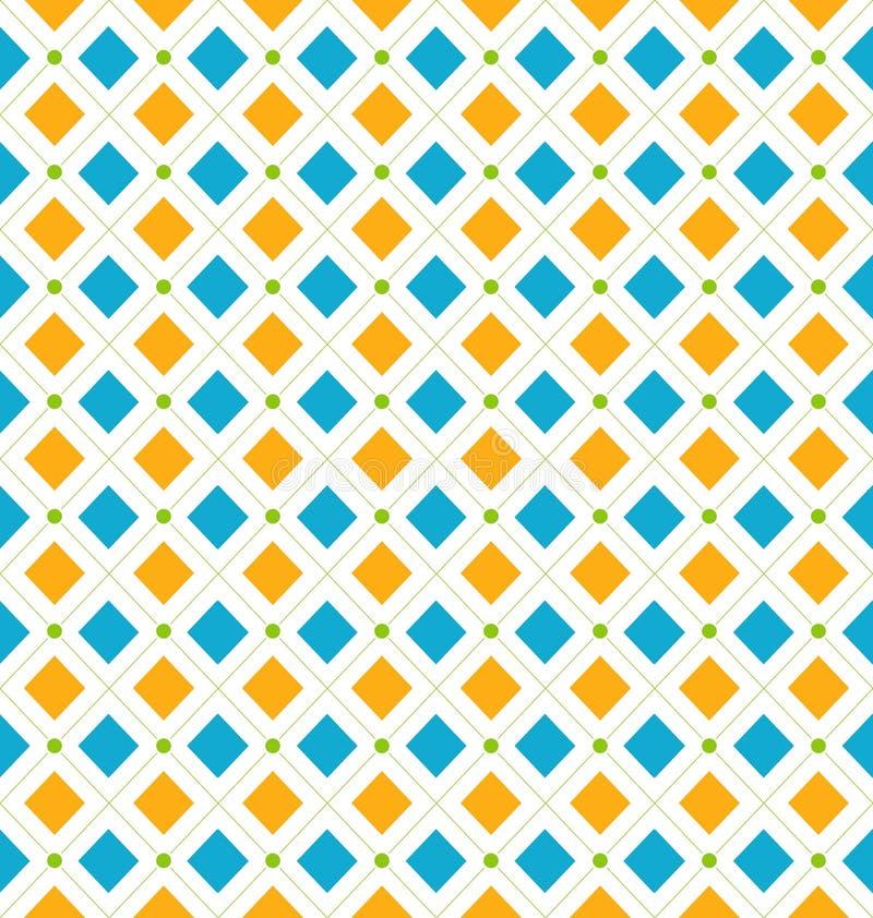 Sömlös geometrisk textur med romben och prickar, skraj kontrast stock illustrationer