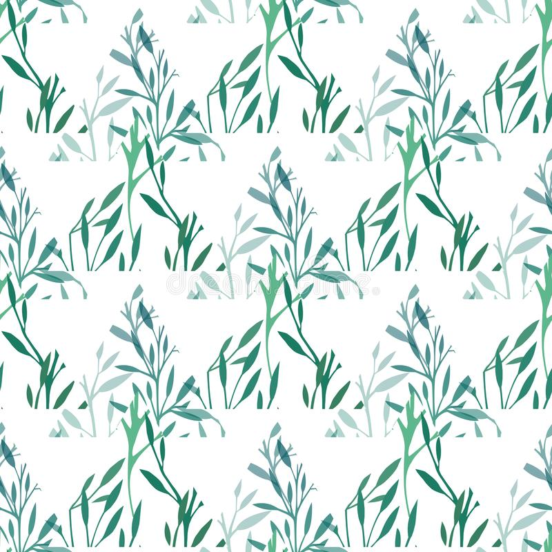 Sömlös geometrisk textur med trianglar av gräs på en vit bakgrund Gröna filialer med lövverk Naturligt m?nstra vektor illustrationer