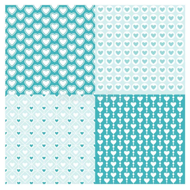 Sömlös geometrisk uppsättningmodell för bakgrunder med hjärtavektorblått vektor illustrationer