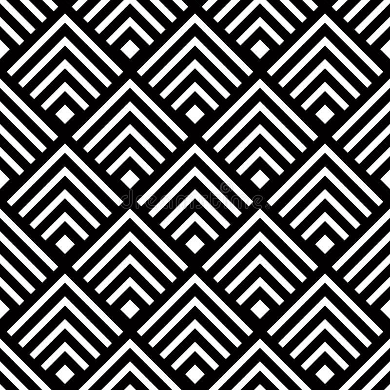 Sömlös geometrisk vektorbakgrund, enkel svartvit str vektor illustrationer