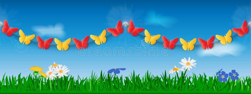 Sömlös girland av röda och gula pappers- fjärilar mot bakgrunden av gräs, blommor och himmel Mall för platstitelrad eller stock illustrationer