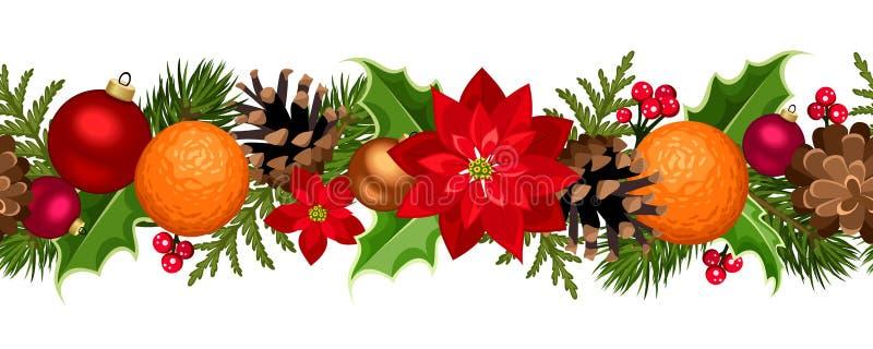Sömlös girland för jul med bollar, järnek, julstjärnan, kottar och apelsiner också vektor för coreldrawillustration stock illustrationer