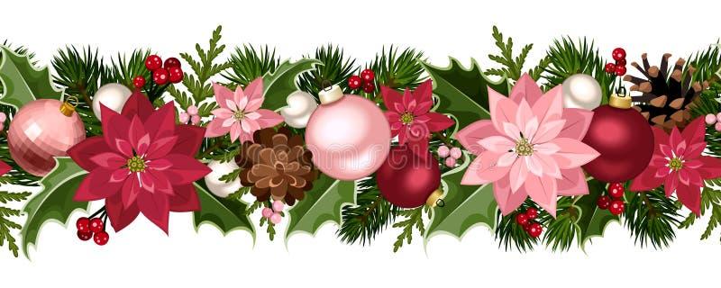 Sömlös girland för jul med bollar, järnek, julstjärnan och kottar också vektor för coreldrawillustration stock illustrationer