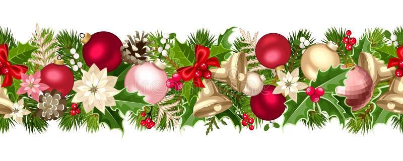 Sömlös girland för jul med bollar, klockor, järnek, julstjärnan och kottar också vektor för coreldrawillustration stock illustrationer