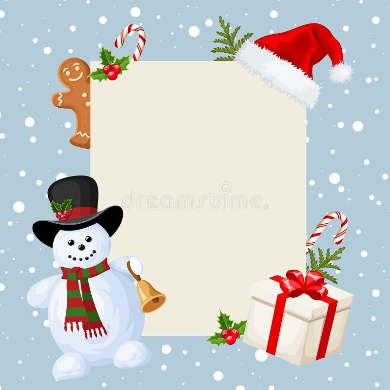 Sömlös girland för jul med granfilial-, rosa färg- och silverbollar, järnek, julstjärnan, kottar och mistel också vektor för core stock illustrationer