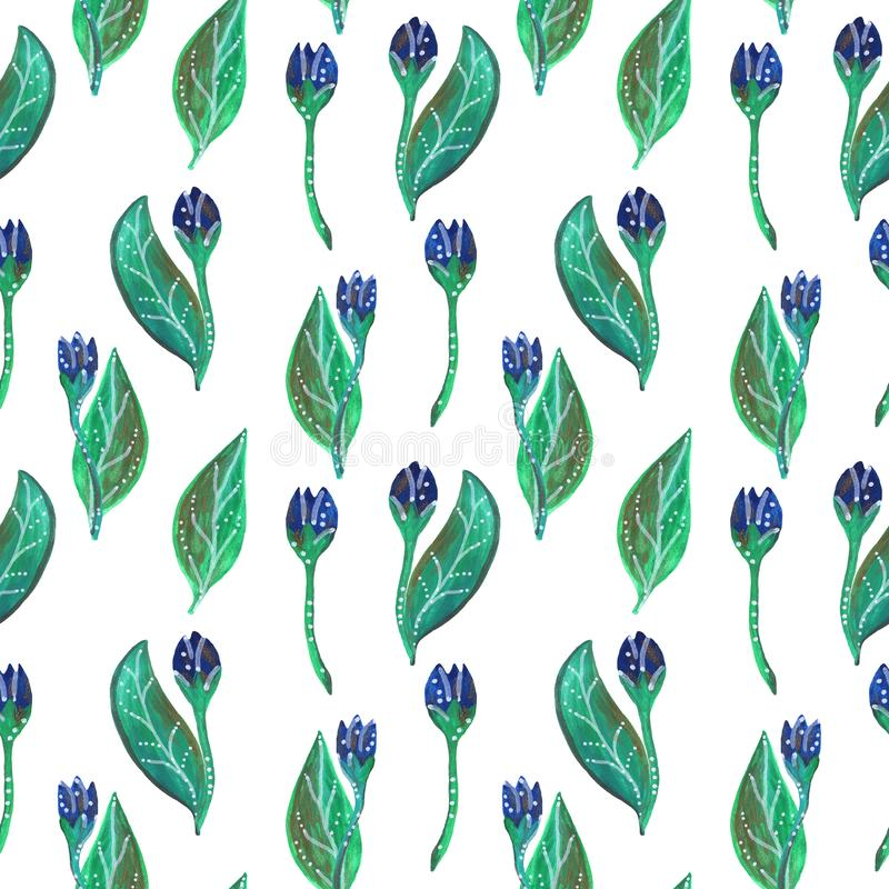 Sömlös gouachemodell av blåa blommor och sidor stock illustrationer