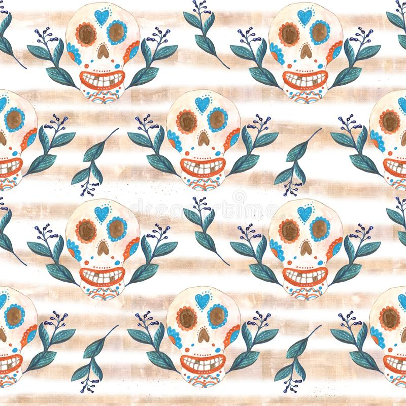 S?ml?s gouachemodell av mexikanska skallar och bl?a blommor med guld- band royaltyfri illustrationer