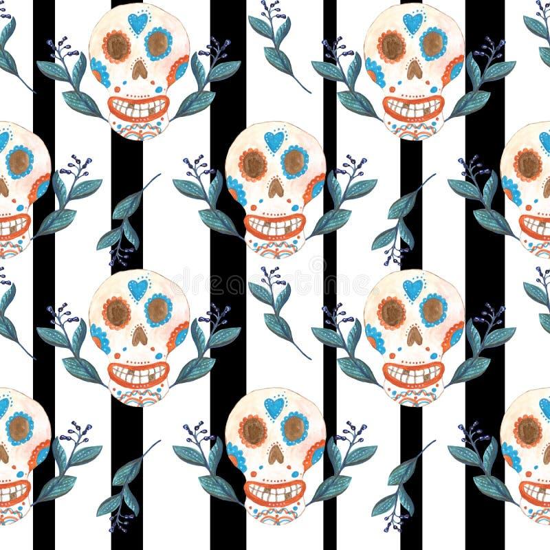 Sömlös gouachemodell av mexikanska skallar och svartvit bakgrund för blåa blommor vektor illustrationer
