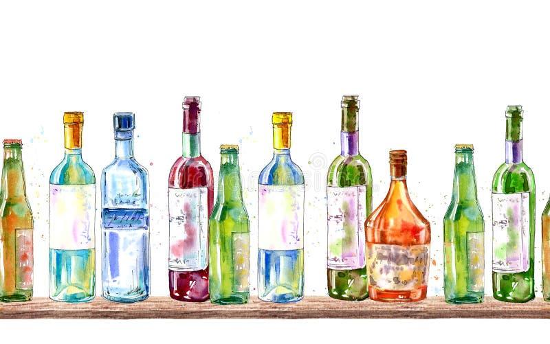 Sömlös gräns av en champagne, en vodka, en konjak, ett vin, ett öl och ett exponeringsglas royaltyfri illustrationer