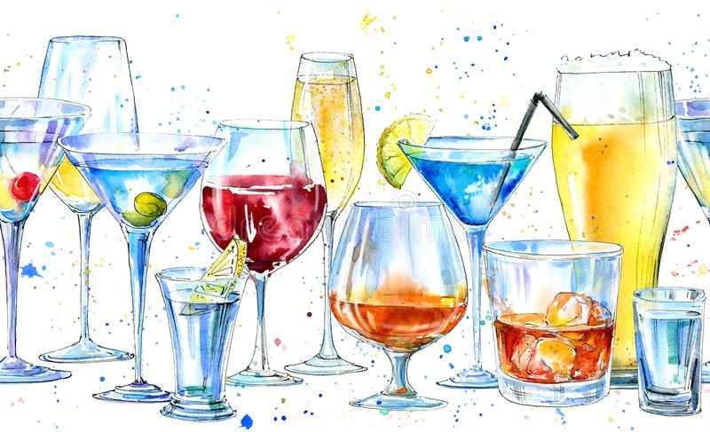 Sömlös gräns av en shampagne, en martini, en whisky, en vodka, ett vin, en starksprit, ett öl, en konjak och en coctail stock illustrationer
