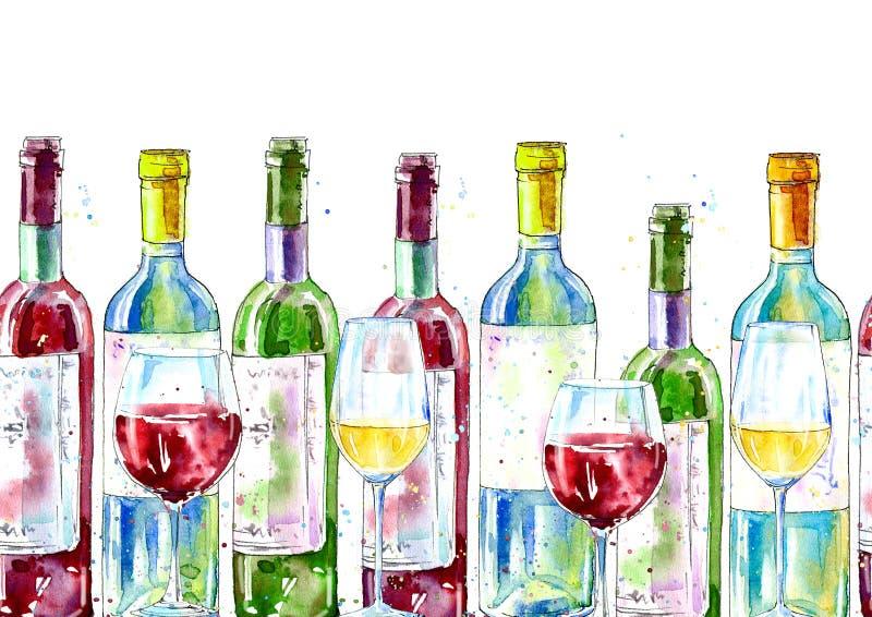 Sömlös gräns av ett vin och ett exponeringsglas Målning av en alkoholdrink vektor illustrationer